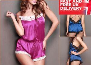 Women Sexy Lingerie Teddy Romper Satin Lace Bodysuit Ladies Nightwear Sleepwear