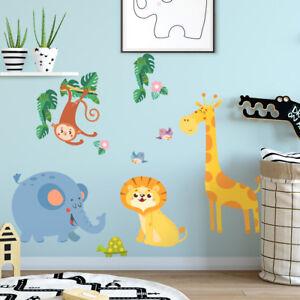 R00490 Wall Stickers Adesivi Murali Camerette animali giungla 30x120 cm