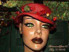 Antique Vintage Unique 1930's Red Straw With Fruit Sz M Good Con Hat
