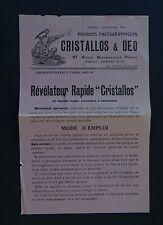 Publicité photo CRISTALLOS & DEO Révélateur Faust Diable camera catalog Katalog