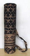 Indian Black Gold Floral Mandala Yoga Mat Carry Beach Bag With Shoulder Strap