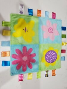 Taggies Full Bloom Flowers Plush Security Blanket Lovey Green Blue Yellow Pink