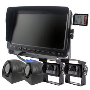 """12-32v 4Pin Heavy Duty Truck Reversing Kit 9"""" DVR Monitor+IR Reverse CCD Camera"""
