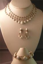 VINTAGE White Bead & Rhinestone Chandelier Necklace Bracelet Earrings 3pc Parure