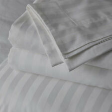 Soft & Silky 4 Pcs Bed Sheet Set 100% Cotton 600 Thread-Count Light Grey Stripe