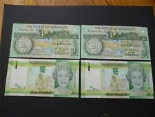 Guernsey and Jersey pairs of mint uncirculated £1 notes consecutive numbers.