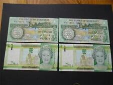 Guernsey e Jersey coppie di menta MONETA £ 1 note i numeri consecutivi.