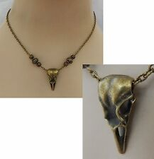 Gold Raven Skull Pendant Necklace Bird Jewelry Handmade NEW Adjustable Fashion
