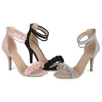 Brinley Co Womens Faux Suede Flower Ankle Strap High Heels New