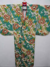 Green Silk Japanese KIMONO w/Arabesque G776
