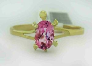 GENUINE 0.68 Cts PINK SAPPHIRE TURTLE RING 10K GOLD * Free Certificate Appraisal