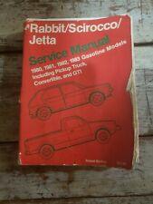 Volkswagen Mk1 Rabbit Scirocco Jetta Service manual Bentley 1980 1981 1982 1983