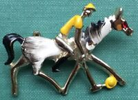 Vintage Polo Player Riding A Horse Gold Tone And Enamel Pin Brooch Equestrian