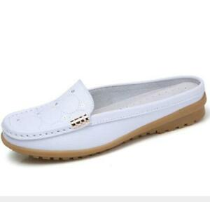 Womens Flat Slippers Loafers Casual Backless Moccasins Slider Shoes Sandals Size