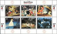 St Vincent 1992 Euro Disney/Films/Alice/Bambi/Cartoons/Animation 6v sht (b1815d)