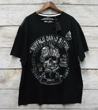 Buffalo David Bitton Mens 2XLT Black & Silver Foil Skull Graphic T Shirt New