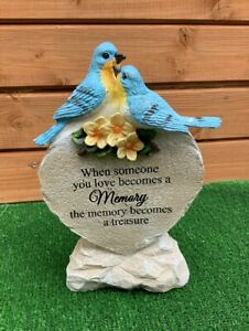 Solar Blue Birds Plaque With Verse Memorial Grave Cemetery Ornament