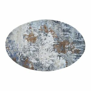 6'x9' Oval Abstract Design Wool And Pure Silk Hand Knotted Oriental Rug R47799