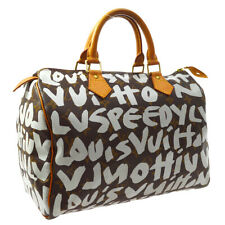 LOUIS VUITTON SPEEDY 30 HAND BAG TH0041 WHITE MONOGRAM GRAFFITI M92195 M15315