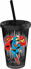 Superman with Stars Black Plastic 16 oz.Travel Cup with Straw