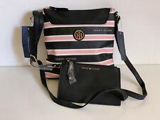 NEW! TOMMY HILFIGER BLACK PINK CROSSBODY SLING BAG W/ WALLET POUCH $75 SALE