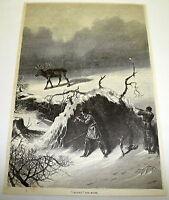 1878 magazine engraving ~ CALLING THE MOOSE ~ Hunting