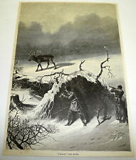1878 magazine engraving ~ CALLING THE MOOSE ~ Hunting