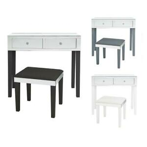 Milano Modern Contemporary Mirrored 2-Drawer Vanity Table with Stool Set