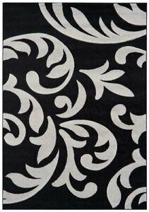 Couture Black Grey Modern Floral Petal Damask Design Traditional Living Room Rug