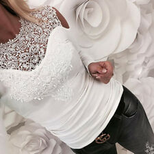 POP Women Sexy Solid Lace Cold Shoulder Long Sleeve Slim Blouse Top T-Shirt S-XL