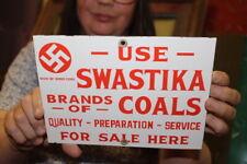 Use Swastika Brand Coal Mining Mine Gas Oil Porcelain Metal Sign
