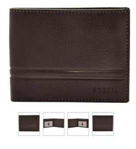 Fossil Men's Leather Wilder Bifold with Flip ID Wallet With Gift Box  Dark Brown