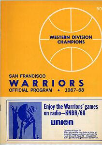 1967-68 NBA NEW YORK KNICKS vs. SAN FRANCISCO WARRIORS GAME PROGRAM (UNSCORED)