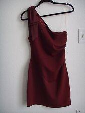 FOREVER 21 Burgundy One Shoulder Bow Embellishment Ruched Cocktail Dress S 4 6