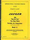 JAEGER 250 2 STAGE PORTABLE AIR COMPRESSOR OPERATOR'S PARTS MANUAL IB-69
