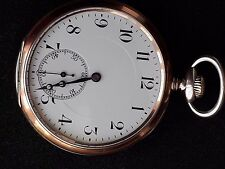 ANTIQUE ZENITH ROSE GOLD SOLID SILVER GALLONE POCKET WATCH -1900-1915- 15 RUBIES
