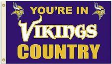 Minnesota Vikings Huge 3'x5' Nfl Licensed Country Flag / Banner - Free Shipping