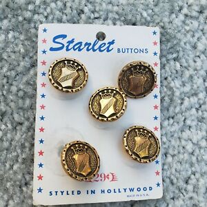 5 STARLET BUTTONS ON CARD STYLED IN HOLLYWOOD - Medieval Gold Tone