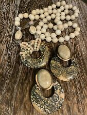 Leopard Jasper Beaded Necklace and Earring Set