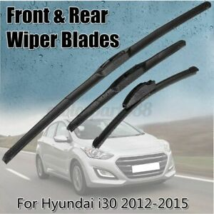 3Pcs Front & Rear Windscreen Window Wiper Blade Set For Hyundai i30