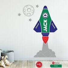 Space Rocket Personalised Wall Sticker Childrens Bedroom Vinyl Boys Decal