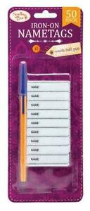 50 IRON ON NAME TAGS With PEN School Children Uniform Kit Clothing Labels