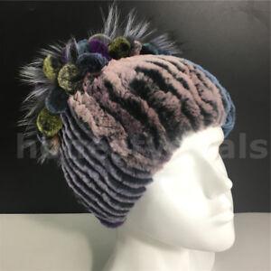 Multicolor Real Rabbit Fur Hats Winter Warm Fur Head Wrap Knitted Beanie Hat