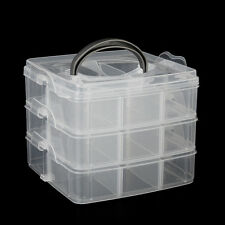 3 Layer 18-Grid Adjustable Plastic Box Jewelry Storage Case Holder Organizer