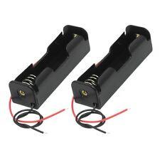 2 pcs noir 18650 plat astuce piles batterie holder case wire leads btszuk