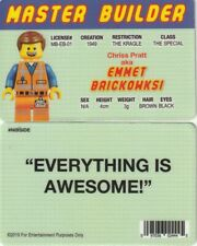 CHRIS PRATT Emmet Brickowski MASTER BUILDER  fake ID i.d card Drivers License