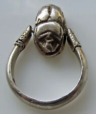 Sterling Silver  Spinning Scarab Ring Pendant  Egyptian Revival Large Size 8 925
