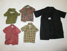 5 KEN Doll Vintage Clothes 1960's Tagged Shirts Plaid Black Green