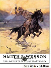 Smith & Wesson Horse & Rider Metal Tin Sign 1876  Large Variety - Post Discounts