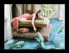 Kleine Leinwand mit Wasserdrachen - Royal Court - Anne Stokes Prinzessin Bild